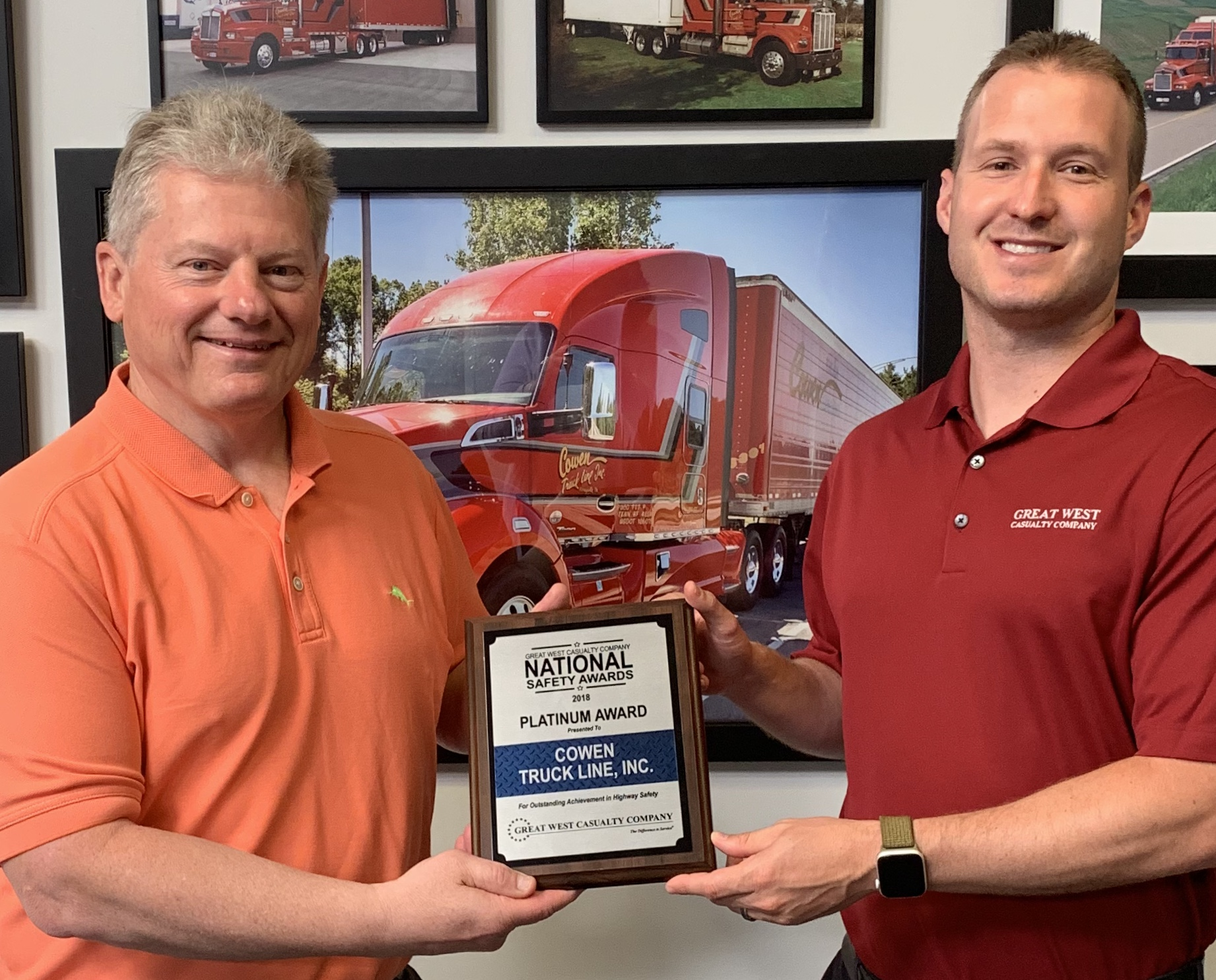 Cowen Truck Line Receives Great West Platinum Safety Award